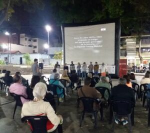 Open air screening during human rights film festival Miradas Diversas, 2020